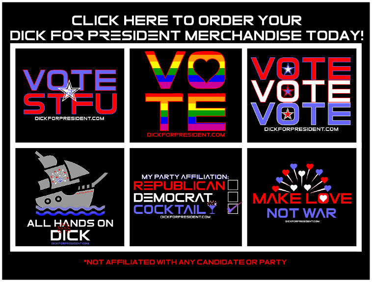 VoteVoteVote from DickTeez There are three things to remember at election time: Vote. Vote. Vote. This design was conceived to underscore that message. You can't expect to control who everyone votes for, but our system works best when everyone who is eligible to do so actually takes the time to voice their opinion by casting their vote. Do your part and participate in the election. Order your official Dick For President merchandise today! DIRECT LINK: https://teespring.com/votevotevote  See more Dick For President designs and LEARN MORE ABOUT THE CAMPAIGN AT: http://DickForPresident.com Election Day is Coming! Not affiliated with any political party or candidate. All Images Copyright 2019